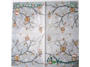 Ubrousek na decoupage 33 x 33cm 1ks, sovy