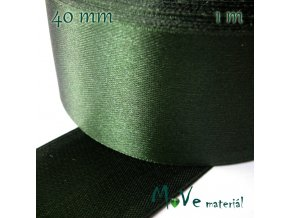 Stuha atlasová jednolící 40mm, 1m, zelená