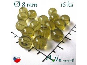 České korálky zelenožluté 8 mm 16 ks
