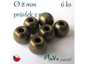 Český skleněný korálek 6kus/mosazný mat