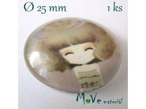 Skleněný kabošon 25mm, panenka