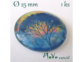 Skleněný kabošon 25mm, strom života