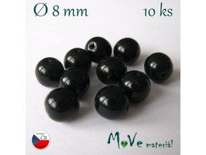 Český skleněný korálek 10kusů/černý