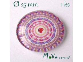 Skleněný kabošon 25mm, mandala