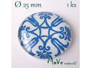 Skleněný kabošon 25mm, modré vzory