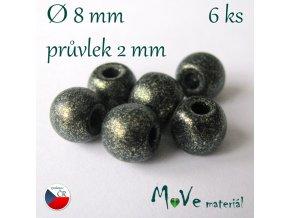 Český skleněný korálek 6kus/olivový