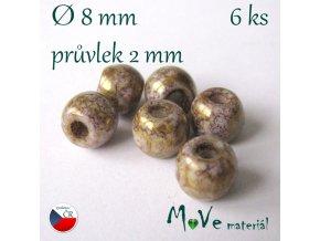 Český skleněný korálek 6kus/zlatý