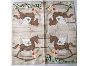 Ubrousek na decoupage 33 x 33cm 1ks, kůň