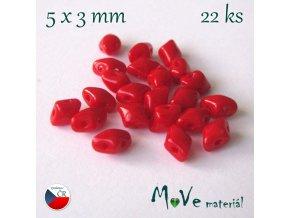České korálky - VARIO 5x3mm, 22ks, červené