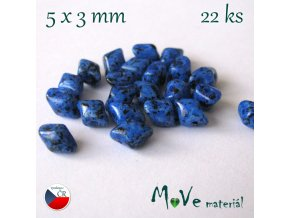 České korálky - VARIO 5x3mm, 22ks, modré
