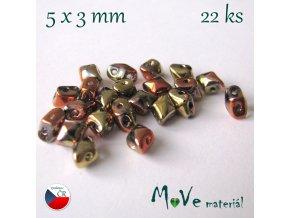 České korálky - VARIO 5x3mm, 22ks, zlatoměděné