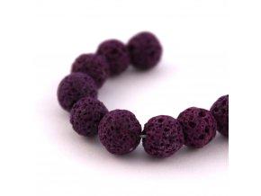 Lávový korálek kulička cca 8mm, 5ks, fialový