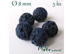 Lávový korálek kulička cca 8mm, 5ks, modrý