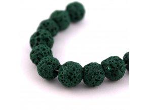 Lávový korálek kulička cca 8mm, 5ks,zelený
