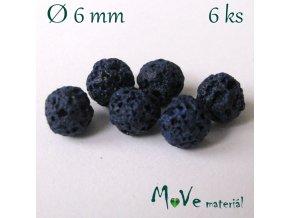 Lávový korálek kulička cca 6mm, 6ks, modrý
