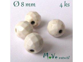 Broušený syntetický howlit 8mm/4ks, béžový