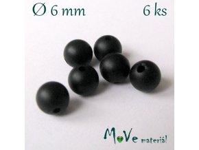 Achát - 6mm/6ks, černý