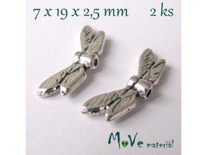Korálek kovový 7x19x2,5mm křídla, 2ks, starostříbrný