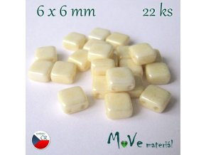 České korálky - TILA 6x6mm, 22ks, krémové