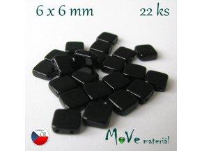 České korálky - TILA 6x6mm, 22ks, černé