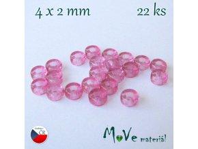 CZECH HEISHI 4x2mm/22ks, růžové