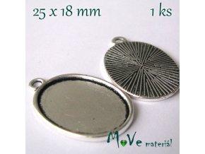 Kovové lůžko 32x20,5mm, 1ks, starostříbro