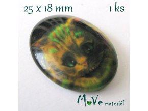 Skleněný kabošon 25x18mm, Šklíba