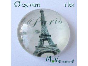 Skleněný kabošon 25mm, Paříž