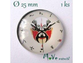 Skleněný kabošon 25mm, hodiny