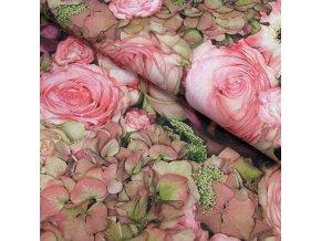 BAVLNĚNÉ PLÁTNO - Hortenzie, růže, gerbery - ŠÍŘE 160CM/1BM
