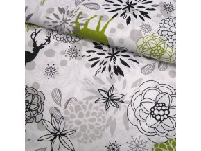 BAVLNĚNÉ PLÁTNO - Jelen + květy, ŠÍŘE 140CM/1BM