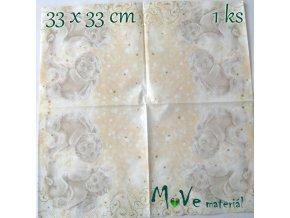 Ubrousek na decoupage 33 x 33cm 1ks, anděl