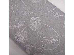 POTAHOVÉ PLÁTNO - Květy šedá, ŠÍŘE 140CM/1BM