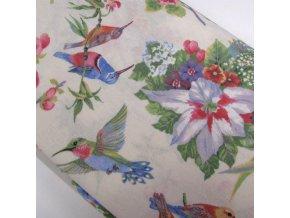 POTAHOVÉ PLÁTNO - ptáci a květy, ŠÍŘE 140CM/1BM