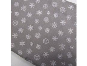 Bavlněné plátno - vánoce šedá vločky - ŠÍŘE 140CM/1BM