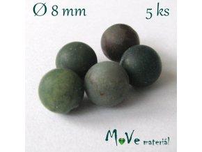 Achát - 8mm/5ks, šedozelený