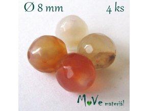 Achát - 8mm/4ks, oranžový