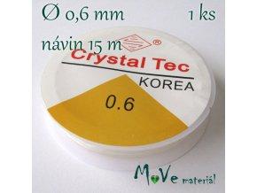 Vlasec silikon elastický 0,6mm návin 15m průhledný