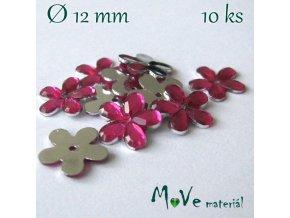 Květina plast Ø11-12mm našívací 10 ks růžová