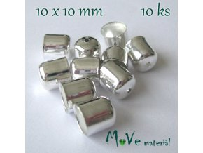 Kaplík 10x10mm hladký, 10ks, stříbrný