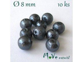 """Voskové perle """"Zigana"""" 8mm, 10ks, šedé"""
