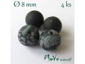 Vločkový obsidián - 8mm/4ks, černý
