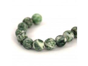 Zelený kámen, 6mm/6ks, zelenobílý