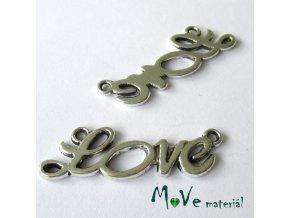 Mezikus LOVE 35x13x2mm, 1ks, starostříbro