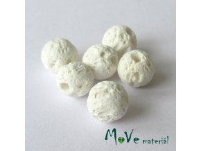 Lávový korálek kulička cca 6mm, 6ks, bílý