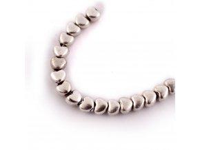 Korálek kovový srdce 3,5x4x3mm/10ks, starostříbrný