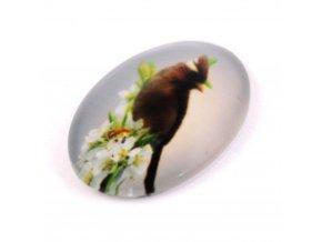 SKLENĚNÝ KABOŠON 30X20MM, ptáček 6