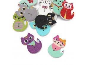Knoflík dřevěný - kočka - různé barvy