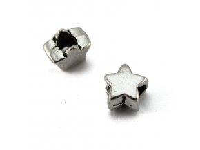 Korálek kovový hvězda - 1ks - starostříbro
