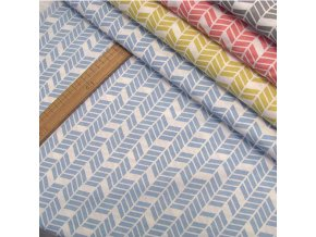 Bavlněné plátno - Geometrie, modrá - šíře 160cm/1bm